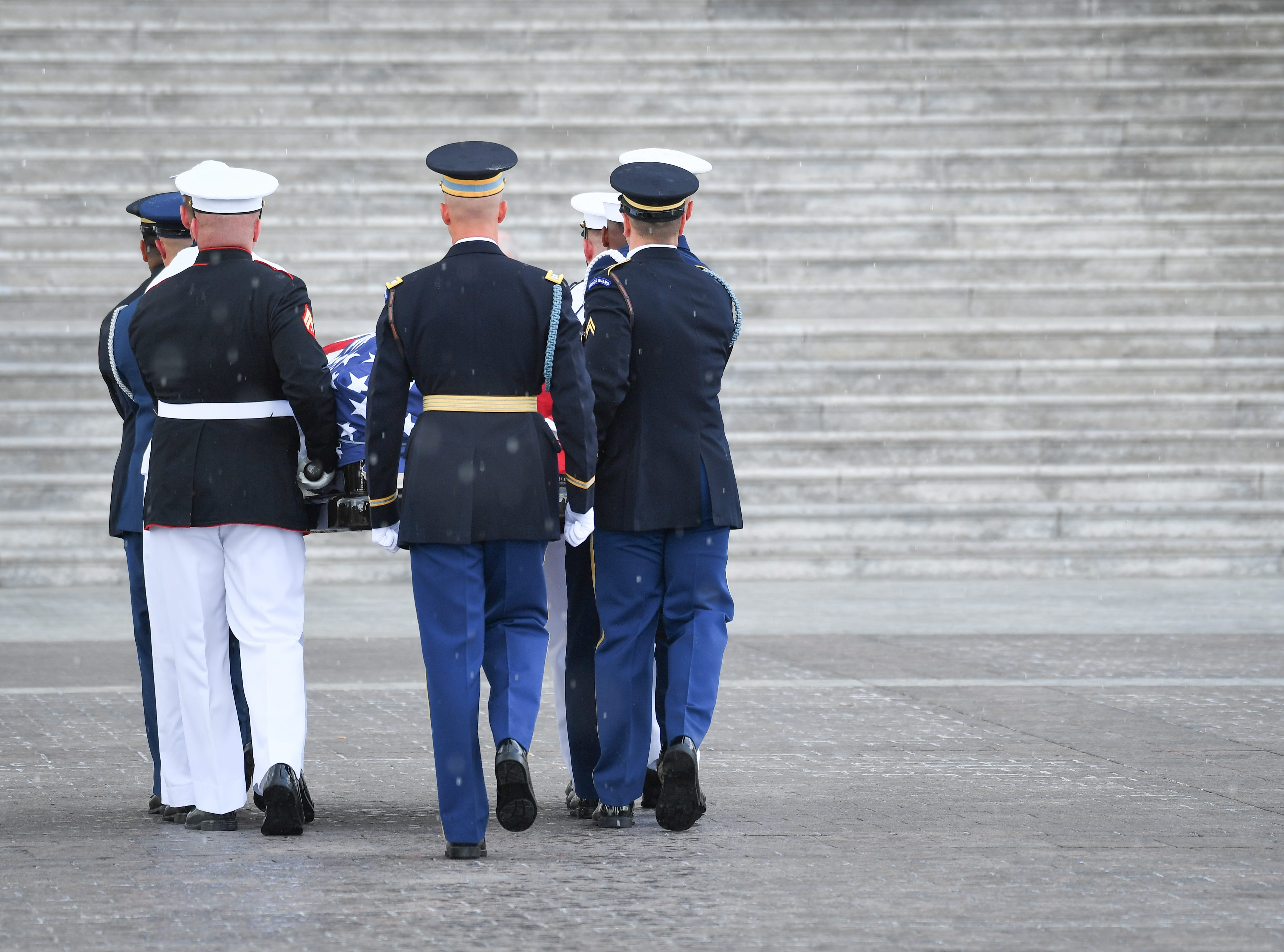 The body of Sen. John McCain arrives at the U.S. Capitol in Washington where he will lie in state on Aug. 31, 2018.