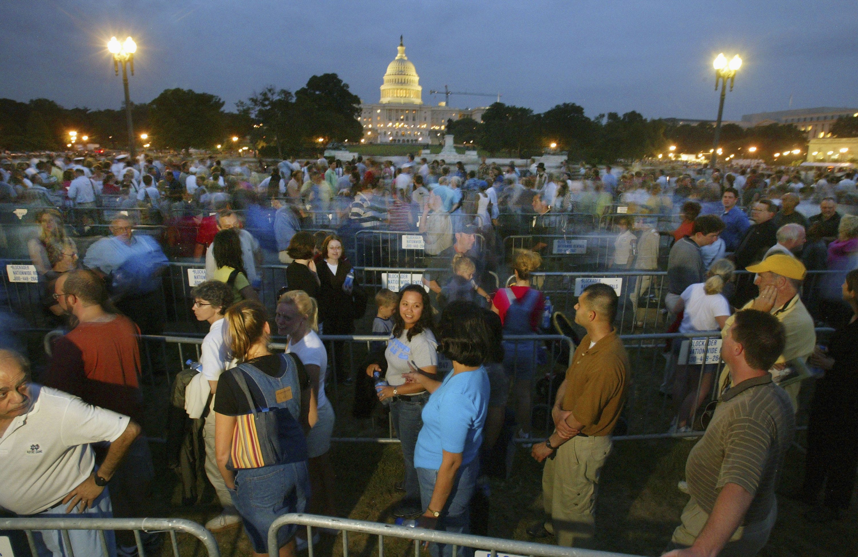 People wait in line for hours in Washington, D.C., when former President Ronald Reagan lay in state at the Capitol in 2004.