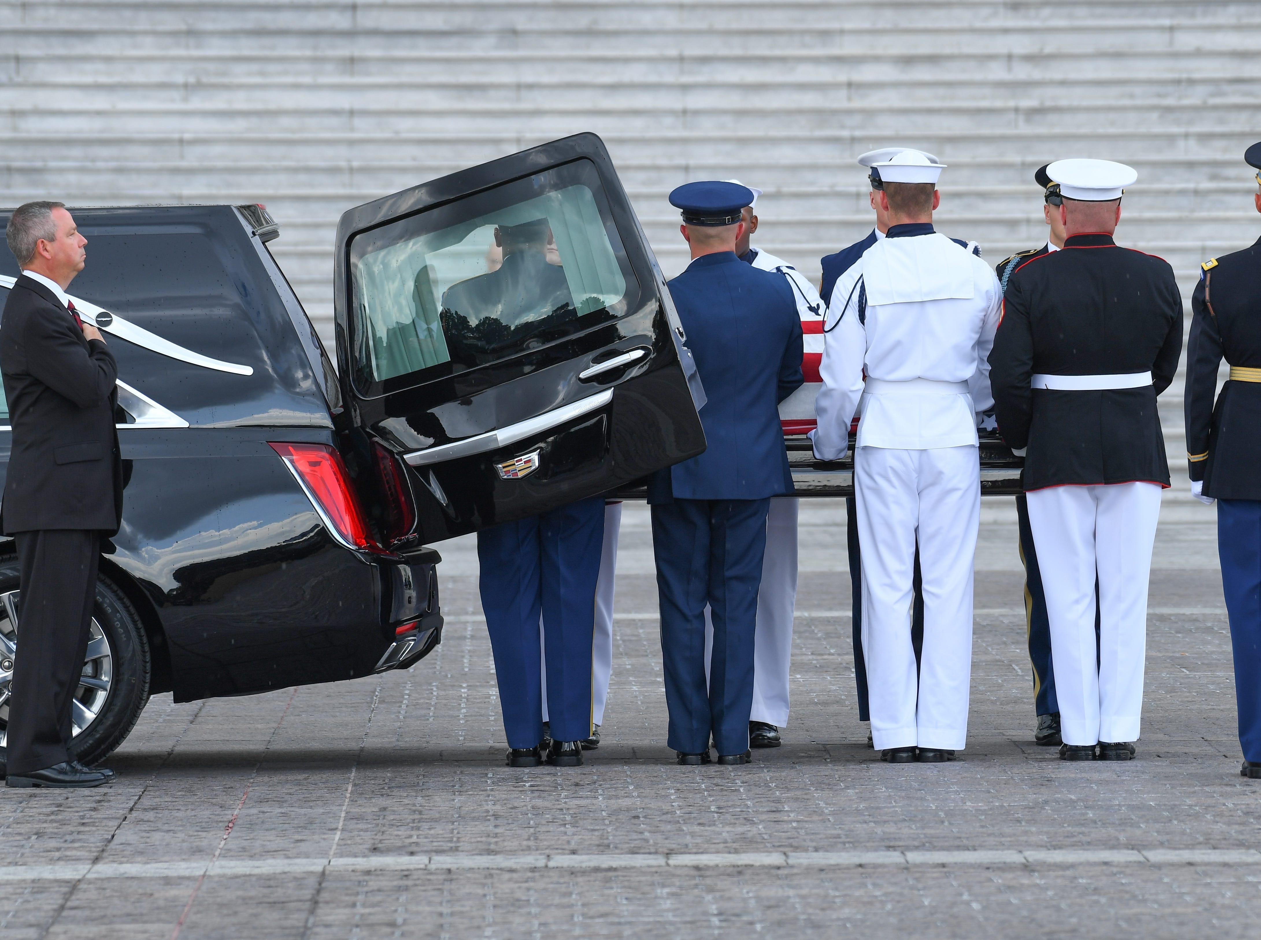 The body of John McCain arrives at the U.S. Capitol in Washington where he will lie in state on Aug. 31, 2018.