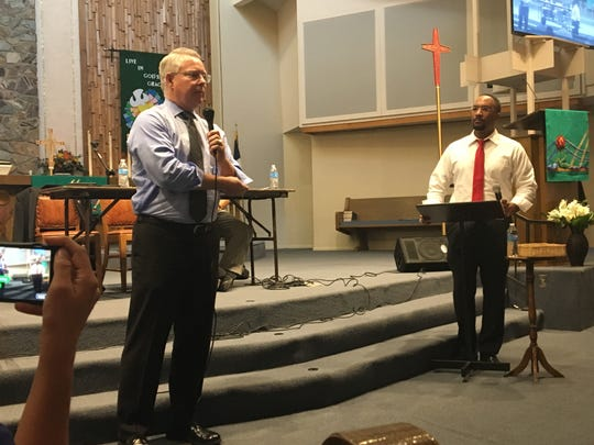 County Attorney Bill Montgomery at a Mesa town hall held by New Beginnings Christian Church. Montgomery was asked how his agency prosecutes police officers in use-of-force cases.