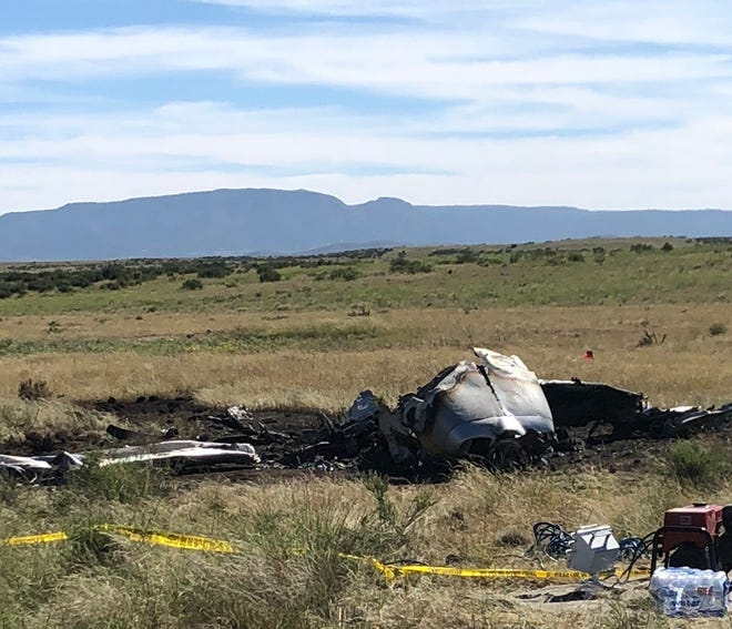 The scene of a plane crash near Prescott Regional Airport.