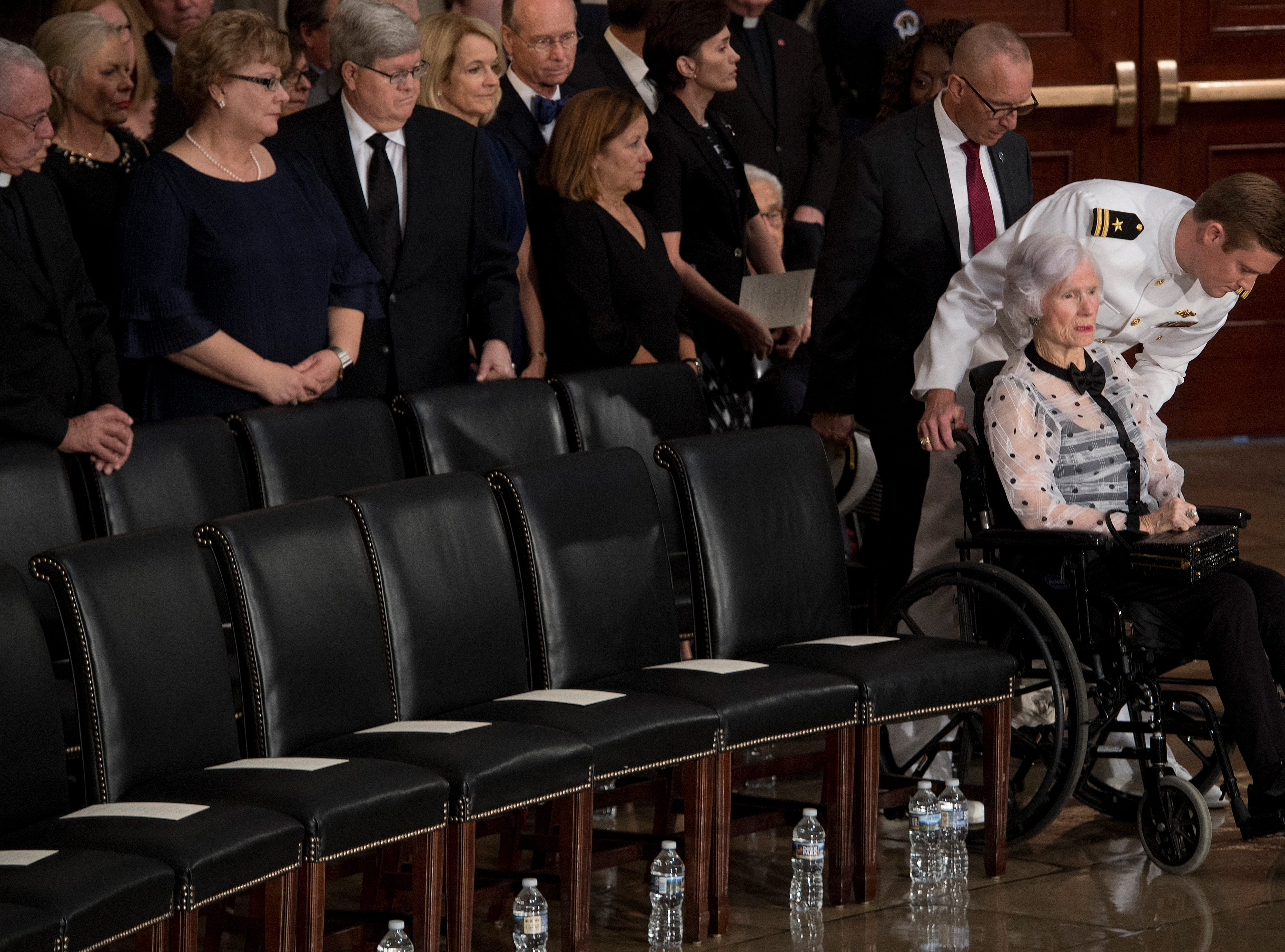 Roberta McCain, the 106-year-old mother of Sen. John McCain, R-Ariz., arrives at his memorial Aug. 31, 2018 in the U.S. Capitol in Washington.