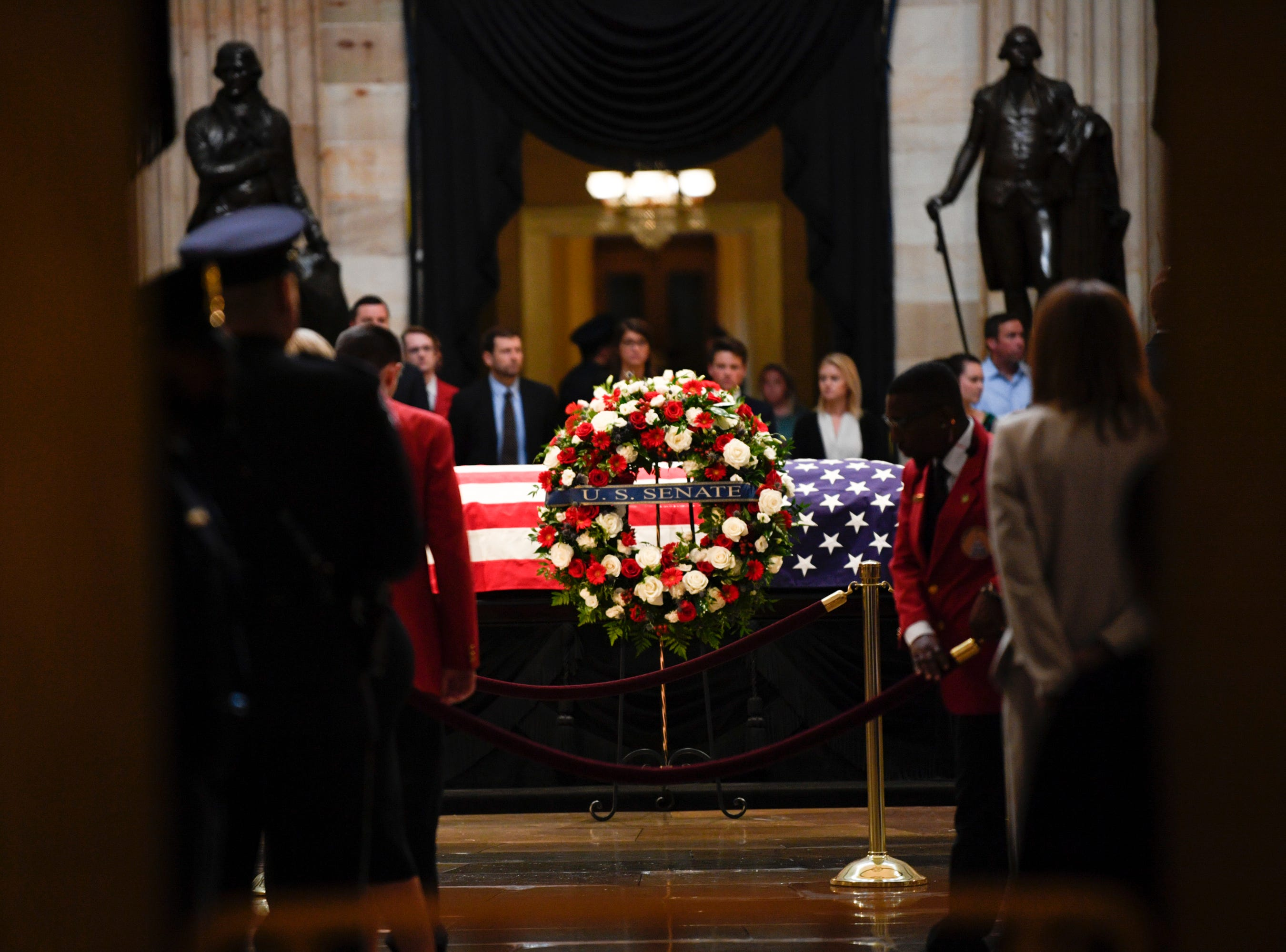 8/31/18 1:07:16 PM -- Washington, DC, U.S.A  -- The body of John McCain lies in state at the U.S. Capitol in Washington on Aug. 31, 2018 in Washington. Sen. McCain died on Aug. 25. --    Photo by Jasper Colt, USA TODAY Staff