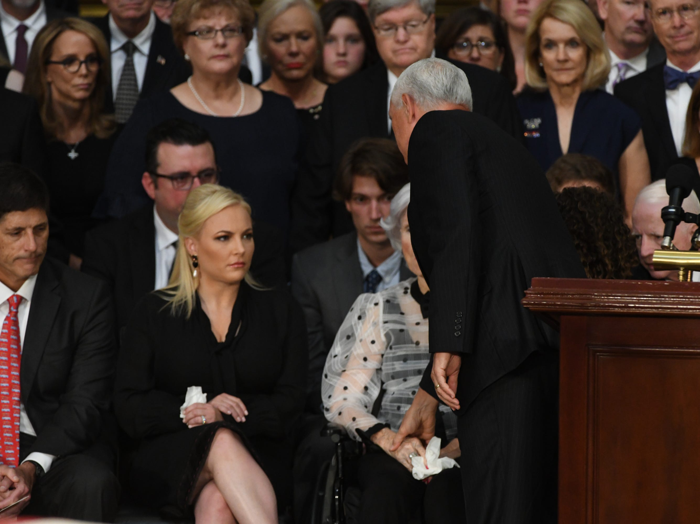 8/31/18 11:16:56 AM -- Washington, DC, U.S.A  -- Vice President Mike Pence greets the McCain family as the body of John McCain lies in state at the U.S. Capitol in Washington on Aug. 31, 2018 in Washington. Sen. McCain died on Aug. 25. --    Photo by Jasper Colt, USA TODAY Staff
