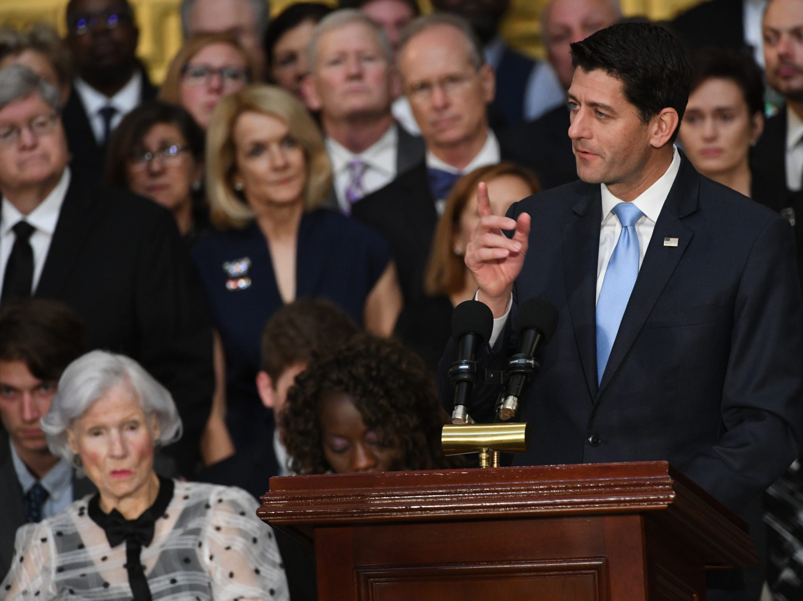 8/31/18 11:02:40 AM -- Washington, DC, U.S.A  -- Speaker of the House Paul Ryan speaks as the body of John McCain lies in state at the U.S. Capitol in Washington on Aug. 31, 2018 in Washington. Sen. McCain died on Aug. 25. --    Photo by Jasper Colt, USA TODAY Staff