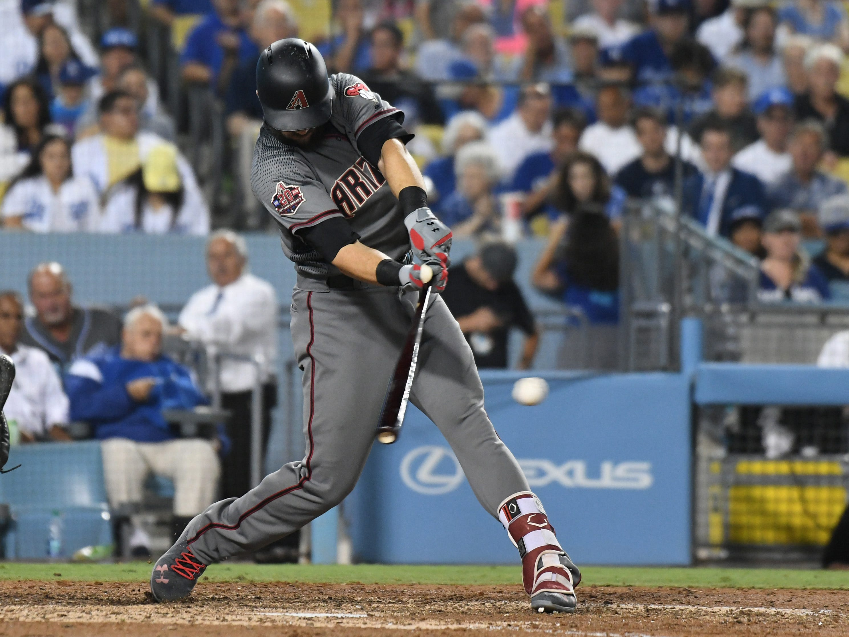 Aug 30, 2018; Los Angeles, CA, USA; Arizona Diamondbacks right fielder Steven Souza Jr. (28) hits a single against the Los Angeles Dodgers in the fifth inning at Dodger Stadium. Mandatory Credit: Richard Mackson-USA TODAY Sports