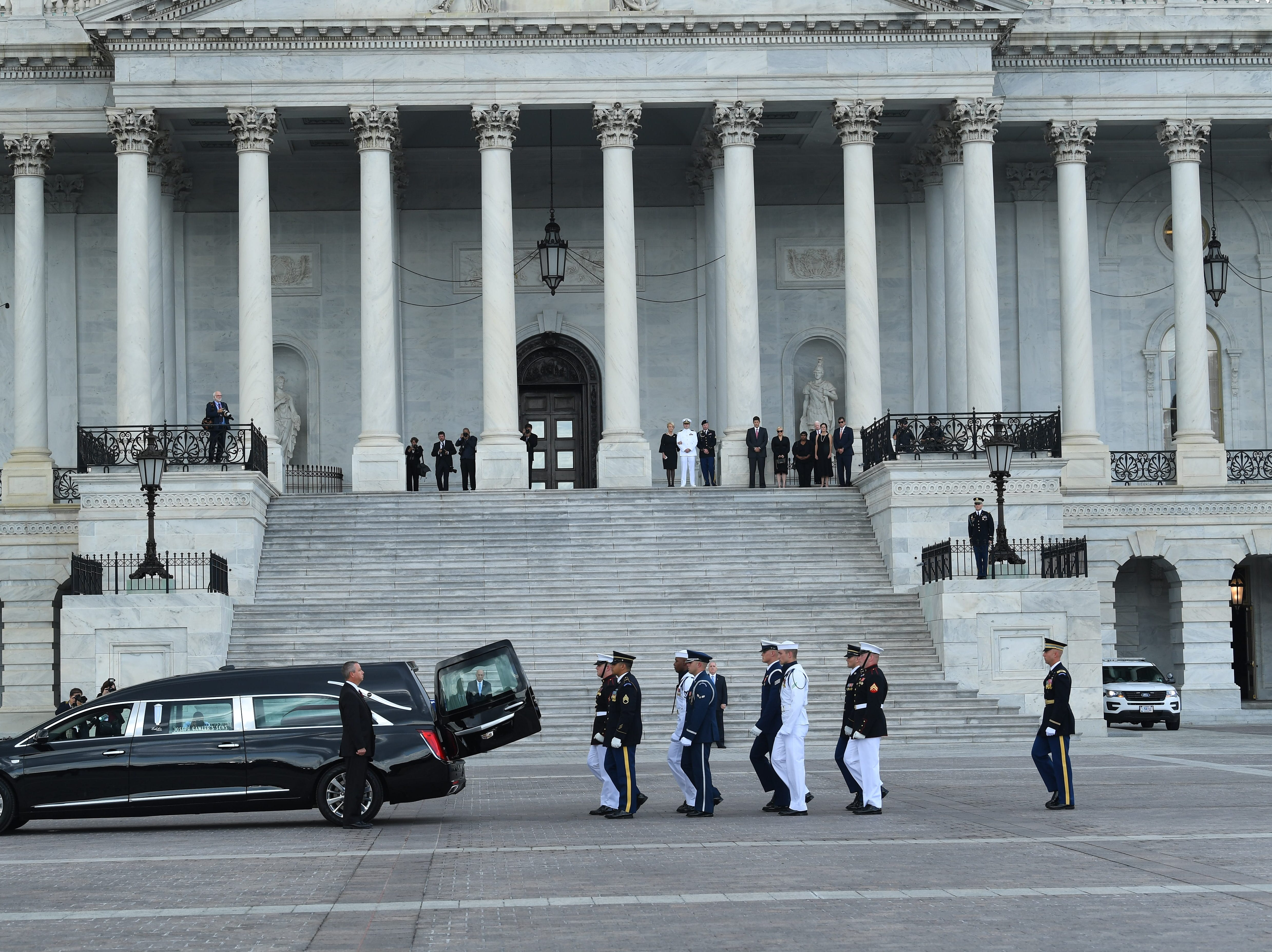 The body of Sen. John McCain arrives at the U.S. Capitol, where he will lie in state in Washington on Aug. 31, 2018.