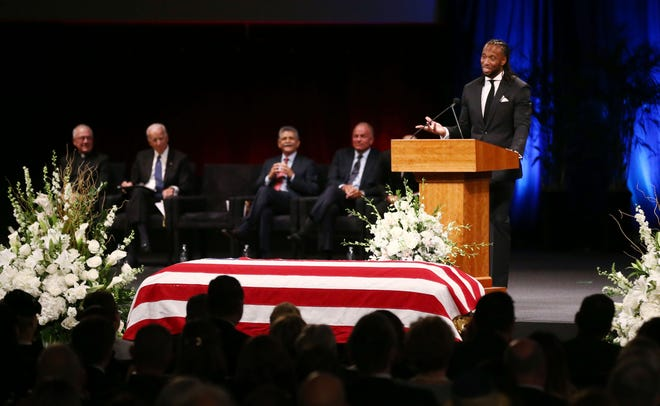 Larry Fitzgerald, wide receiver for the Arizona Cardinals, pays tribune to his friend U.S. Senator John McCain during a memorial service at North Phoenix Baptist Church on Aug. 30, 2018,in Phoenix.