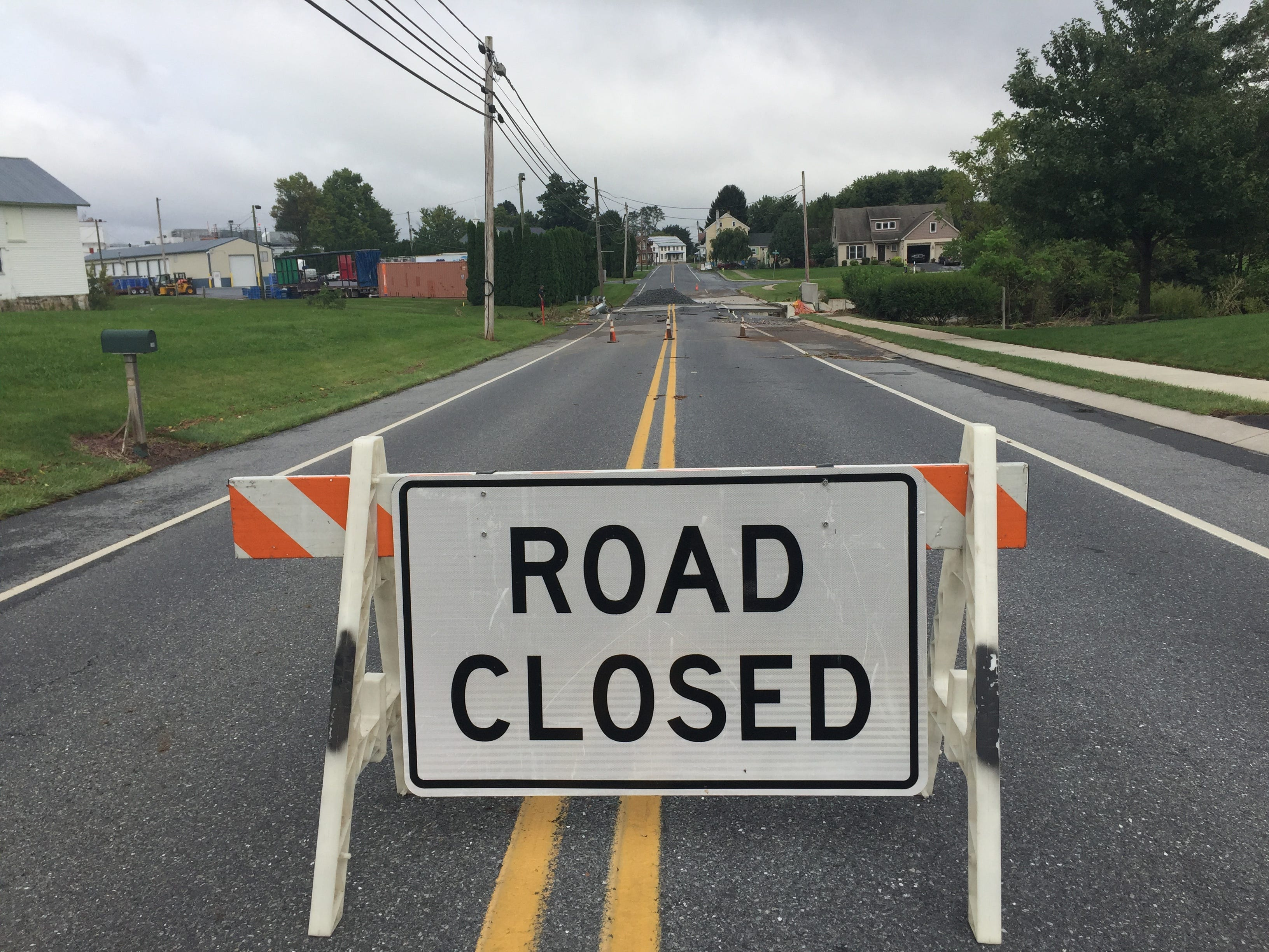 Airport Road was closed near Horizon Drive in Fredericksburg Aug. 31, 2018 after floodwaters washed out a bridge over Deep Run Creek.