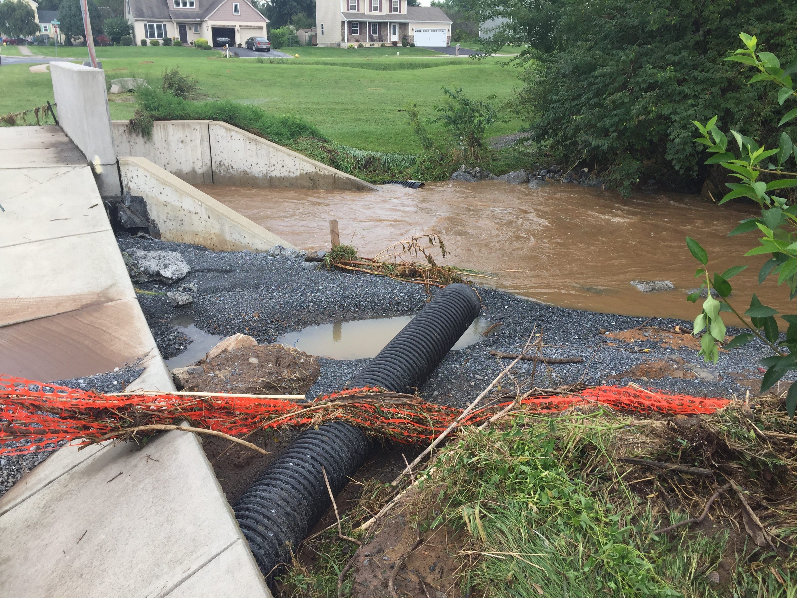 Heavy rain caused flooding that washed out a bridge on Airport Road near Horizon Drive in Fredericksburg Aug. 31, 2018.