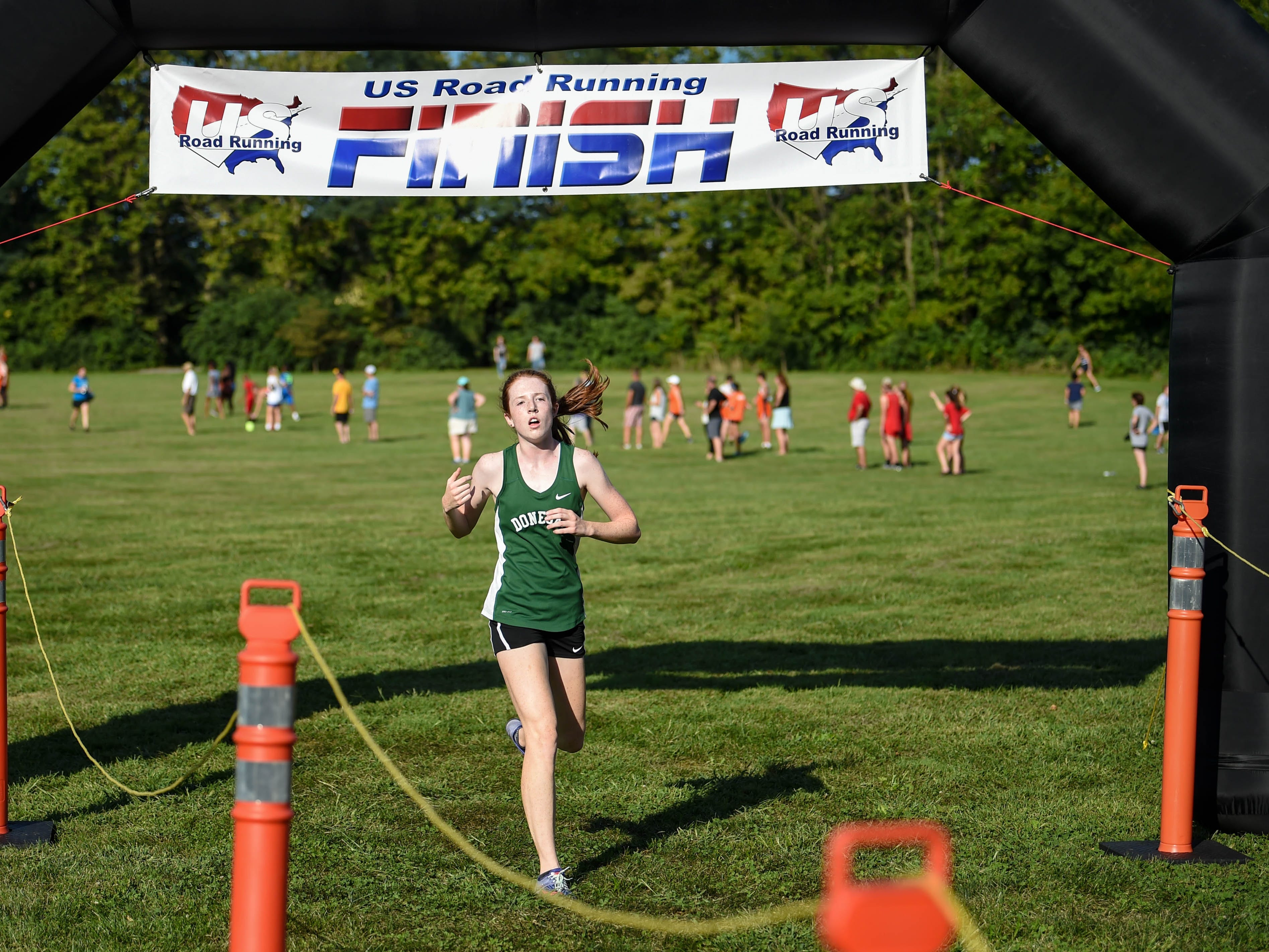 Donegal crosses the finish line during the Cross Country scrimmage at John Rudy County Park on August 30, 2018.