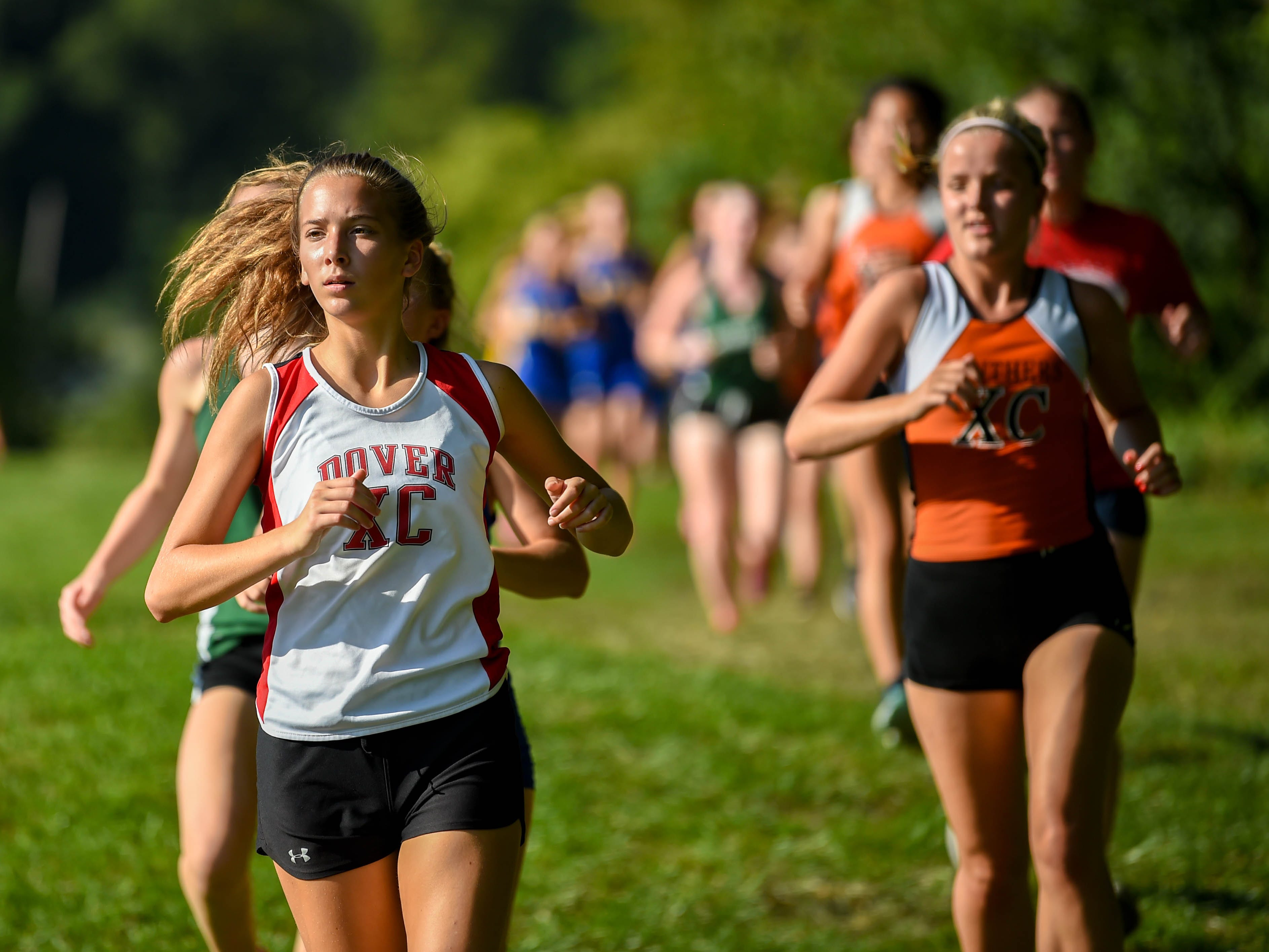 Dover stays calm as competitors try to catch up during the Cross Country scrimmage at John Rudy County Park on August 30, 2018.