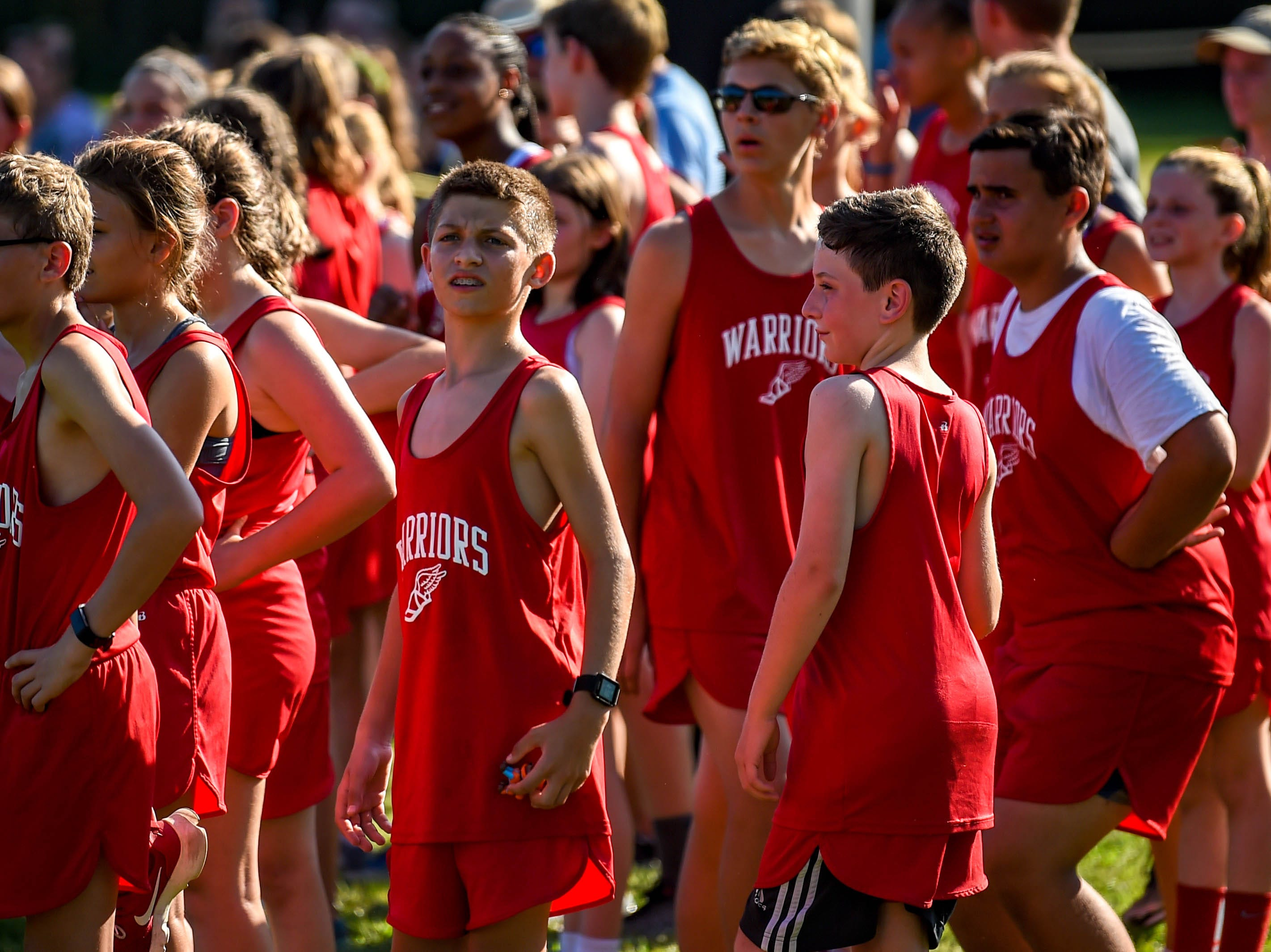 Susquehannock runners look for their teammates from the finish line during the Cross Country scrimmage at John Rudy County Park on August 30, 2018.