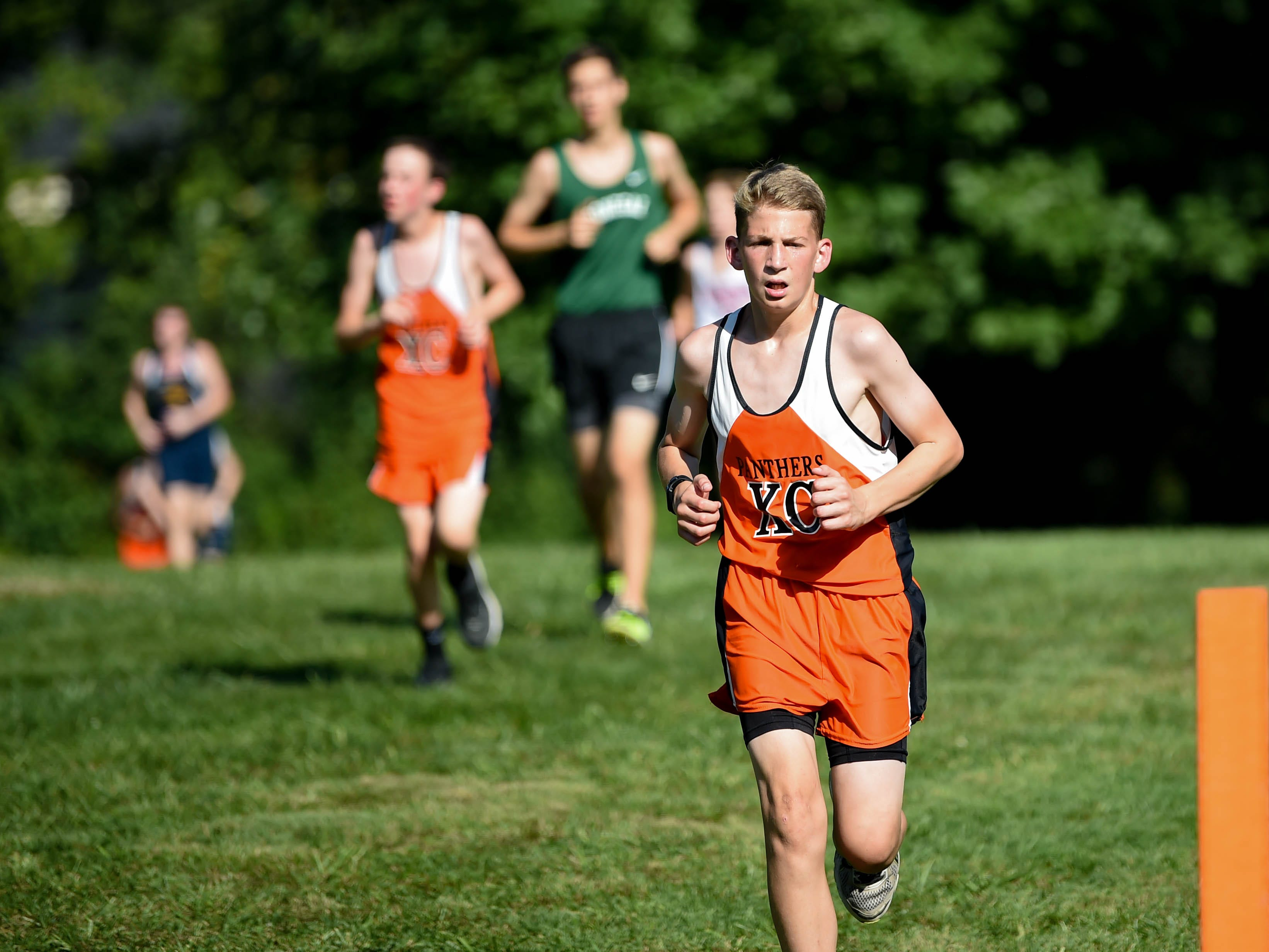 Central York coasts out in front during the Cross Country scrimmage at John Rudy County Park on August 30, 2018.
