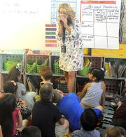 Fernley Elementary School first-grade teacher Michele Jeakins talks to her class.