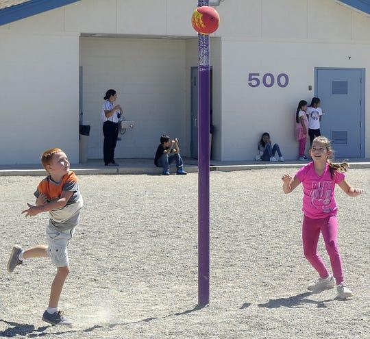 Students play tetherball at Yerington Elementary School.