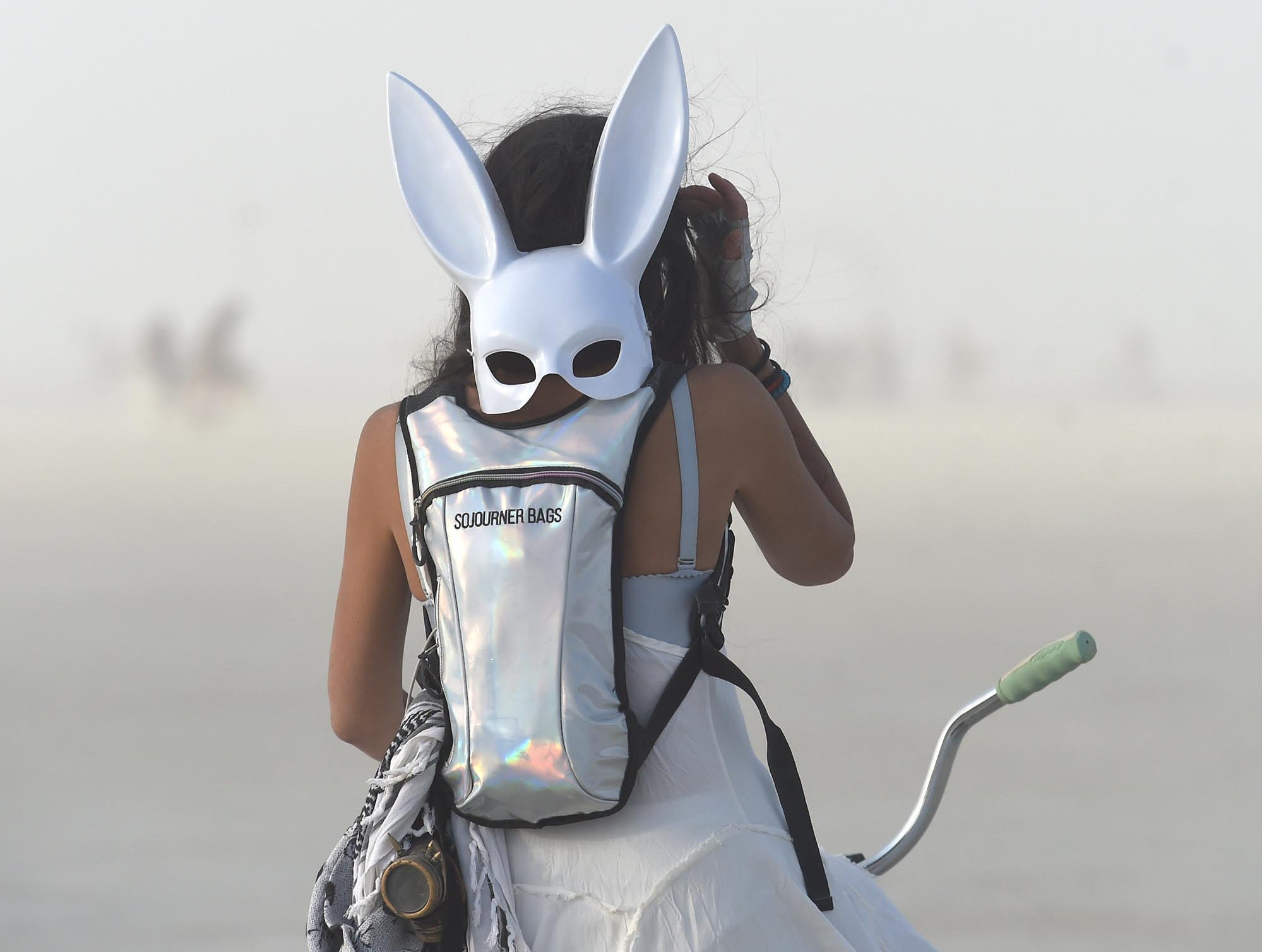 Burners participate in the annual Billion Bunny March at Burning Man on Thursday August 29. 2018.