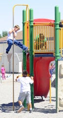 Yerington Elementary School students play during lunch.