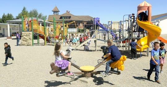 Yerington Elementary School students play during recess.