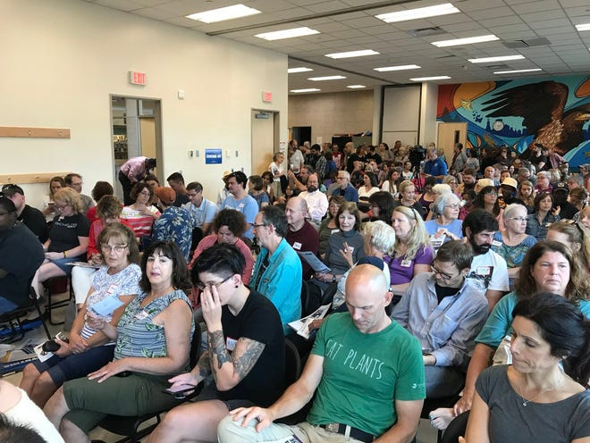 More than 200 people showed up for Friday's campaign stop by Democratic gubernatorial candidate Cynthia Nixon.