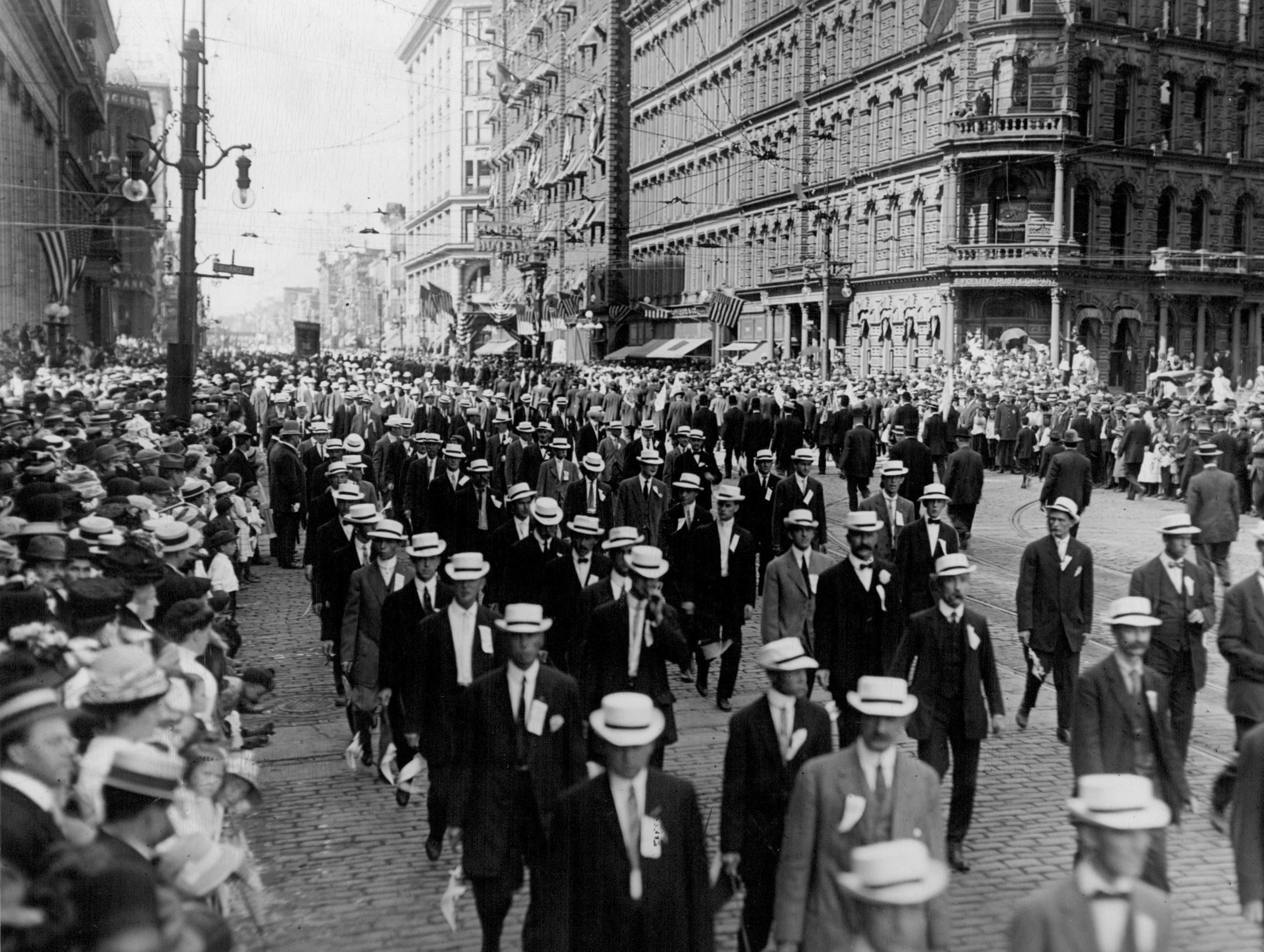 This undated picture of a Labor Day parade was take at the corner of Main and Exchange Streets in Rochester.  P