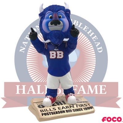 """The Buffalo Bills """"Drought is Over"""" Bobblehead, featuring the previous version of Bills mascot Billy Buffalo."""