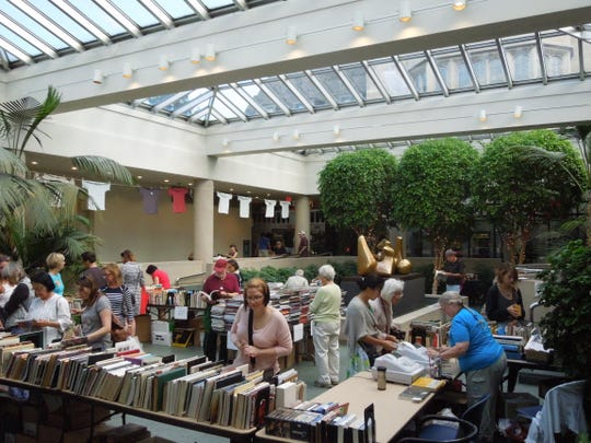 The Art Book Sale in the Pavilion at the Memorial Art Gallery takes place during the Clothesline Festival.