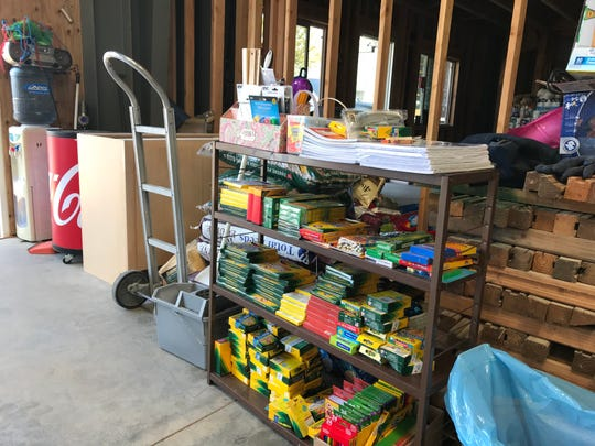 Schools supplies are just some of the items being offered to Carr Fire victims through a grassroots relief effort organized on Facebook by Redding residents Melissa and Jim Elliott. Everything has been donated by individuals or companies, including the 4,000-square-foot warehouse.