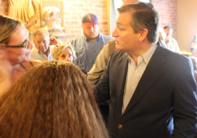 Sen. Ted Cruz greets supporters during a campaign event Aug. 30, 2018, at Miss Hattie's Restaurant in San Angelo.