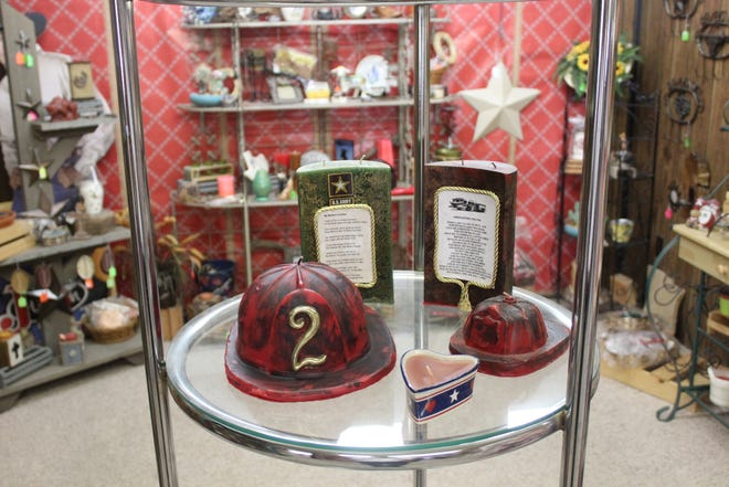 Fire hat candles sold at Candles Handmade by JF, 2716 Sherwood Way.