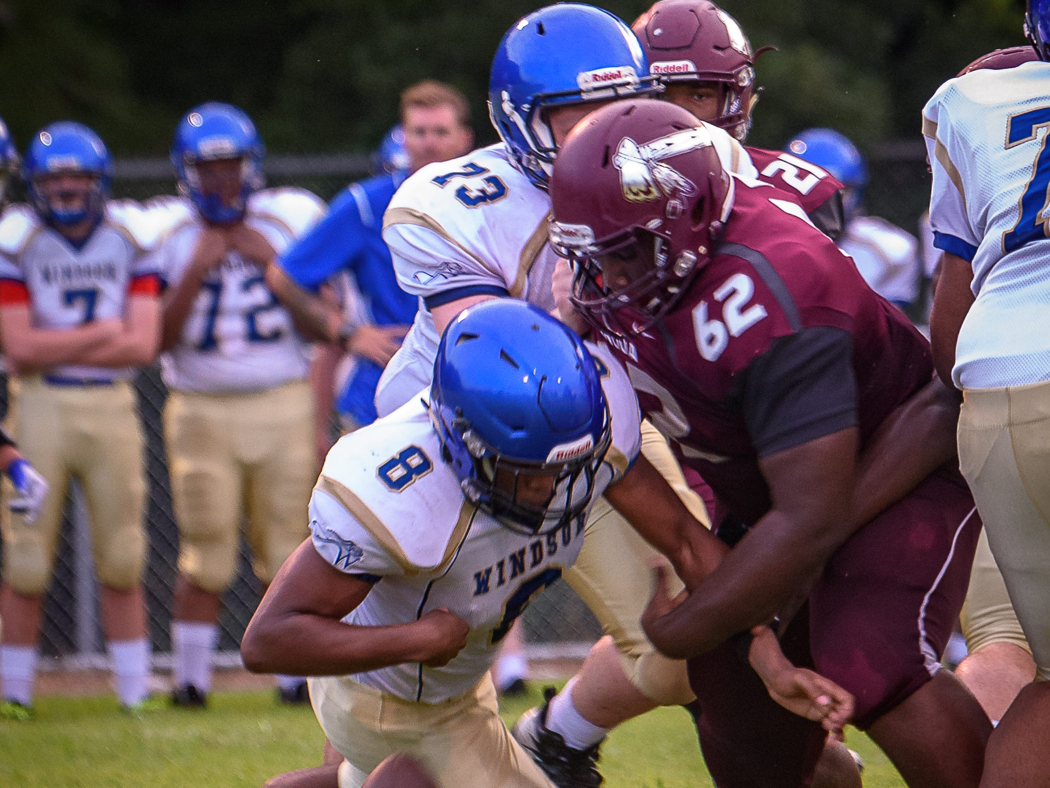 Nandua High School football team traveled to Windsor for its second game of the season. Nandua won the game 50-7. Jaheim Gaskins, No. 62 of Nandua, forces a fumble from Windsor's No. 8 Kip Holloway during their game Aug. 30.