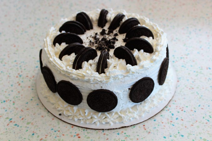Cookies and Cream ice cream cake at Marble Slab Creamery.