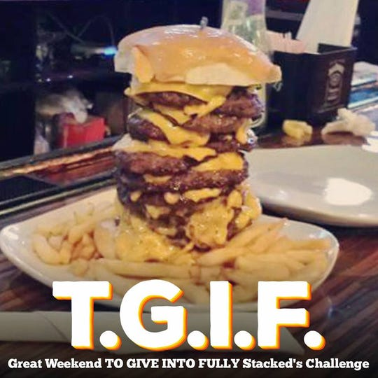 A social media ad for the Fully Stacked burger challenge.