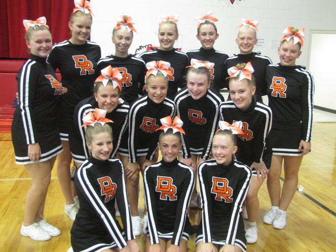 The Dell Rapids competitive cheer team includes:   Front Row: Desirae Horton, Olivia Godwin, Hailey Larson. Middle Row: Jade Kludt, Bella Hymans, Cydney Lee, Katelyn North. Back Row: Taylor Reit, Janae Schoeberl, Kaylei Oberg, Katie Pulscher, Lilly Tiernan, Hannah Heiberger, Lizzy Lefebvre.