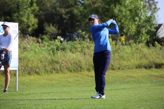 Leona Maguire is tied for the lead after the first round of the GreatLife Challenge at Willow Run Golf Course.