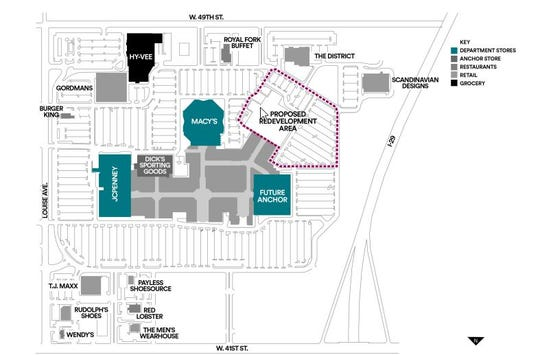 A Empire Mall leasing document from mall owner Simon Property Group indicates one possible future for the former Sears site would be to redevelop both the store site and adjacent parking lots. the Younkers site would remain as the site of a future anchor store.