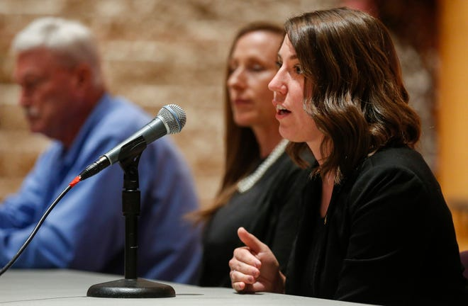 Rep. Crystal Quade, right, speaks during the Opioid Summit at Missouri State University on Friday, Aug. 31, 2018.