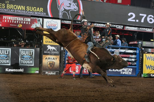 Cooper Davis rides Brown Sugar during the championship round of the Springfield Built Ford Tough series PBR.