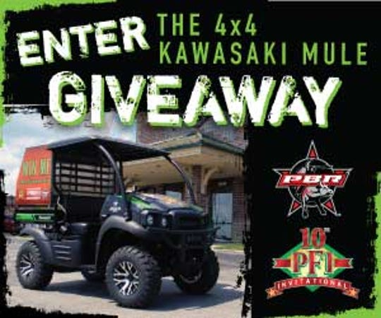 Enter online or in person to win this Kawasaki 4x4 Mule.