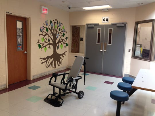 A mechanical restraint chair in the Commonwealth Center for Children and Adolescents in Staunton, Virginia.