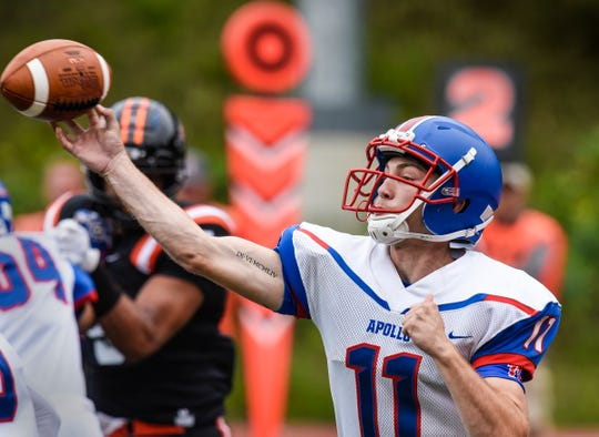 Apollo quarterback Neal Benson throws a pass during the Friday, Aug. 31, game at Clemens Stadium in Collegeville.