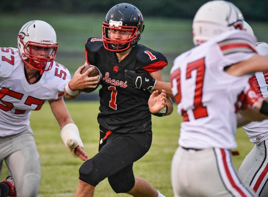 ROCORI's Jack Steil carries the ball during the Thursday, Aug. 30, game against Detroit Lakes in Cold Spring.