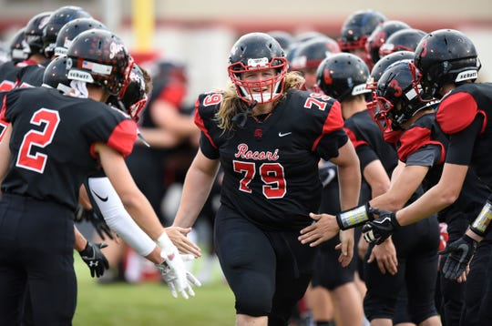 ROCORI's Evan Flint is introduced during the Thursday, Aug. 30, game against Detroit Lakes in Cold Spring.