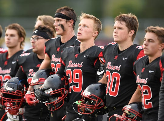 ROCORI players line up before the start of the game Thursday, Aug. 30,  against Detroit Lakes in Cold Spring.