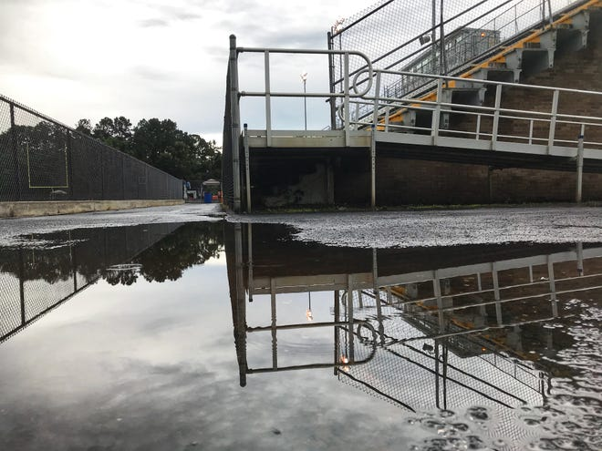 Gene Cox Stadium was hit with rain for Friday's game between Leon and Rickards.