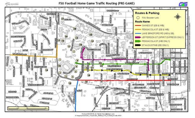FSU football pre-home game traffic routes