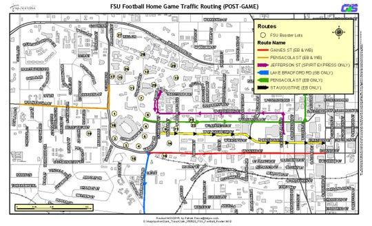 FSU football post-home game traffic routes