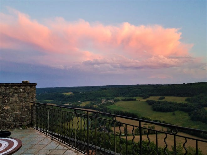 A wide terrace looking across rolling fields and a view toward the Pyrenees brought us sunsets and shooting stars