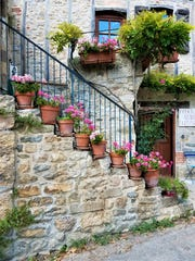 Flower pots in the rustic village Puycelsi, France.