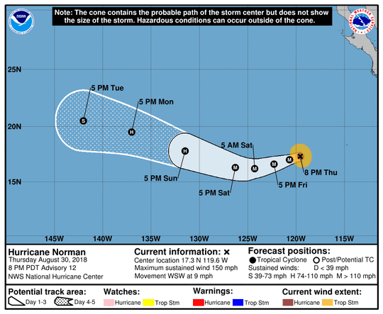 Projected path of Hurricane Norman as of 11 p.m. Thursday, Aug. 30, 2018.